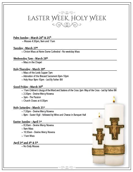 Easter schedule OLV 2018